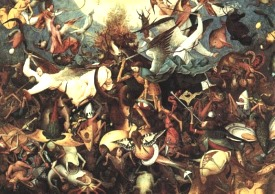 In this painting by Pieter Bruegel, Saint Michael and his acolytes chase away from Heaven the angels who rebelled against God, with Lucifer at their head. This is an illustration of the 12th chapter of the Apocalypse, another image fitting Pluto.