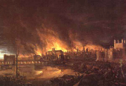 L'incendie de Londres en 1666, prédit par William Lilly