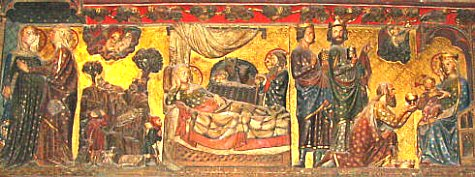 The Christ was born a few years before our era. This bas-relief represents Joseph and Mary at the left, Jesus' birth at the centre, and the visit of the three Magi at the right.