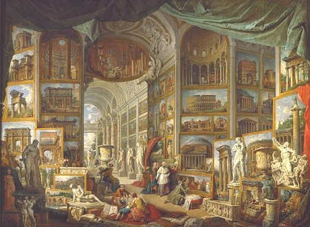 To illustrate ancient Roma, a gallery of views of the city by Giovanni Paolo Pannini, exhibited at the Louvre museum in Paris.